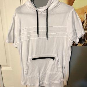 Short sleeve hoodie with zipper pocket